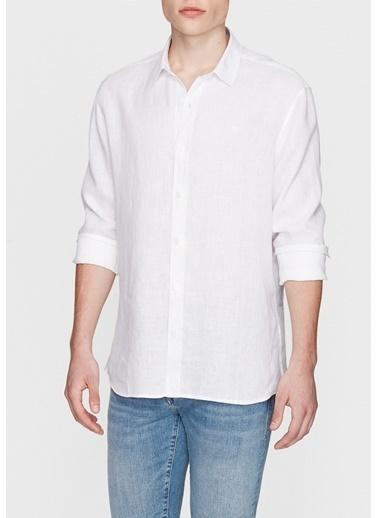 Mavi Keten Gömlek Beyaz